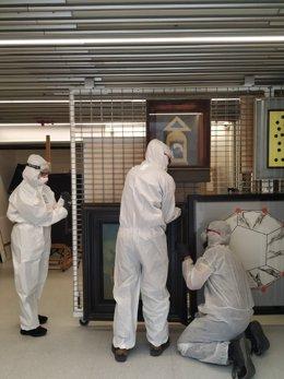 El trasllat de les obres s'ha fet sota mesures de seguretat sanitària excepcionals a causa del coronavirus