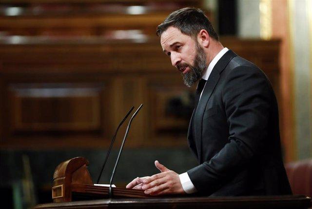 El presidente de Vox, Santiago Abascal, durante su intervención en el pleno del Congreso.