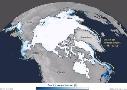 Moderado máximo de hielo en el Ártico durante el pasado invierno
