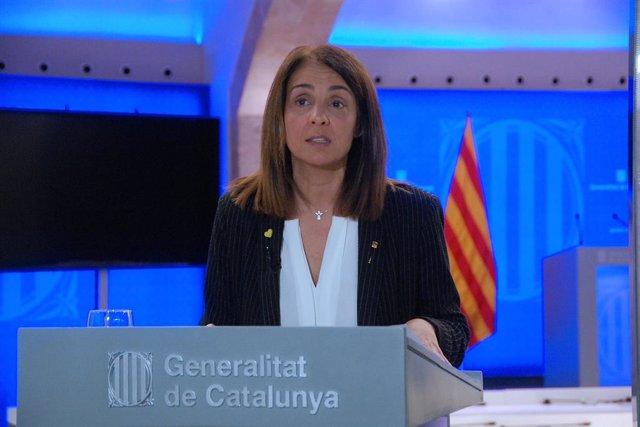 La consellera de Presidència, Meritxell Budó, en roda de premsa telemàtica