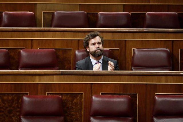 El portavoz de Vox en el Congreso, Iván Espinosa de los Monteros, en el Congreso