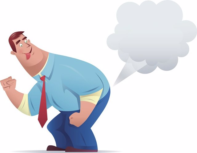 Businessman farting    Vector character of funny businessman farting