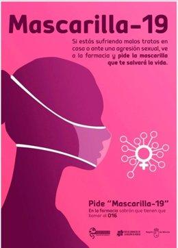 Cartel elaborado por el Colegio de Farmacéuticos de la Región de Murcia para ayudar a posibles víctimas de agresión sexual y malos tratos