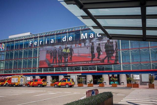 Fachada del Hospital temporal de la Comunidad de Madrid habilitado en IFEMA para pacientes con coronavirus, en Madrid (España) a 3 de abril de 2020.
