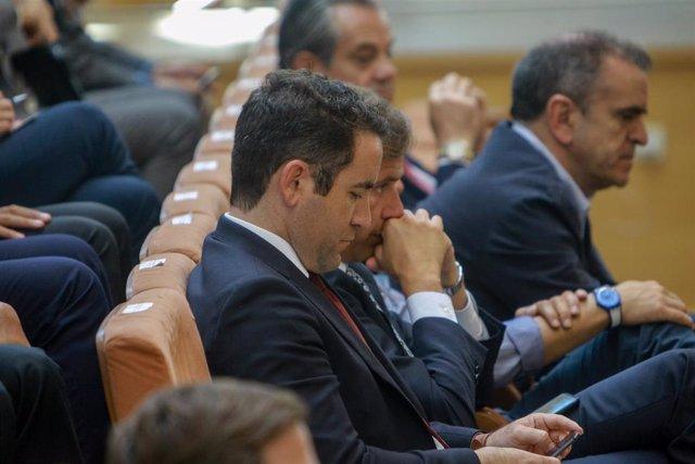 El secretario general del PP, Teodoro García Egea;el vicesecretario Territorial del PP, Antonio González Terol; y el secretario general del PSOE en Madrid, José Manuel Franco, el debate investidura a la Presidencia de la Comunidad de Madrid.