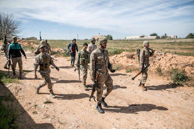 Fuerzas leales al gobierno de unidad de Libia, con sede en la capital, Trípoli