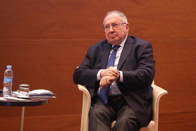 El presidente de la Cámara de Comercio de España, José Luis Bonet en la presentación del libro 'Más allá de los negocios. Miradas y visiones de empresarios sobre la economía, la sociedad y la política'.