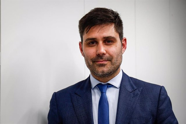 El presidente de la Asociación de Futbolistas Españoles (AFE), David Aganzo, en la sede del sindicato en Madrid