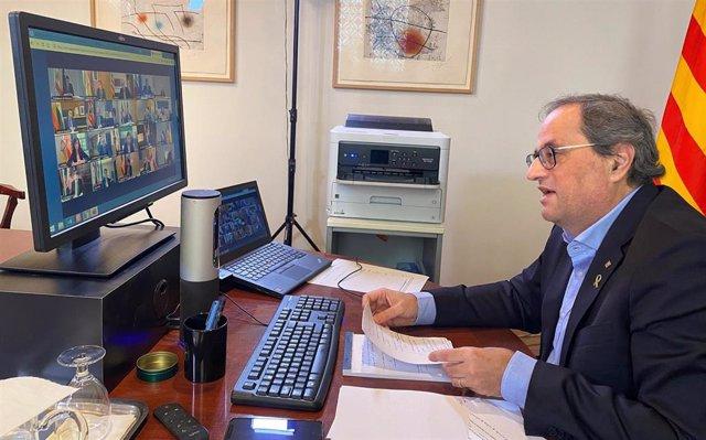 El presidente de la Generalitat, Quim Torra, durante la cuarta reunión de presidentes autonómicos por videoconferencia durante la crisis del coronavirus.