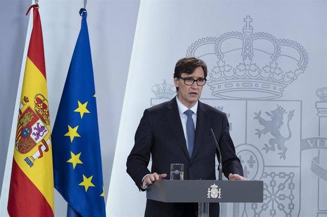 Intervención en rueda de prensa del ministro de Sanidad, Salvador Illa, sobre la evolución de la pandemia del coronavirus en España. 1 de abril de 2020.