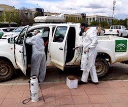 Trabajadores del Infoca desinfectan un vehículo de trabajo.