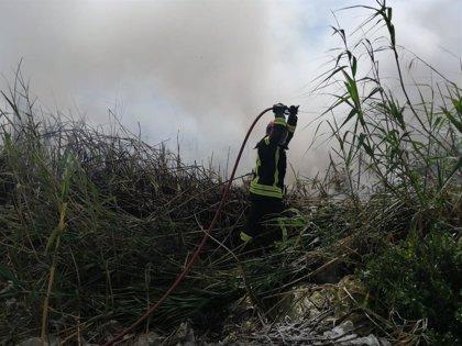 El incendio forestal en las Albuferas de Adra (Almería) calcina cuatro hectáreas de matorral