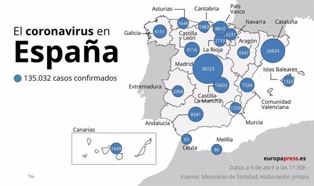Mapa con casos de coronavirus en España a 6 de abril a las 11:30
