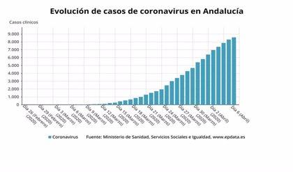 El avance del coronavirus se ralentiza en Andalucía con 280 contagios y 21 fallecidos en 24 horas
