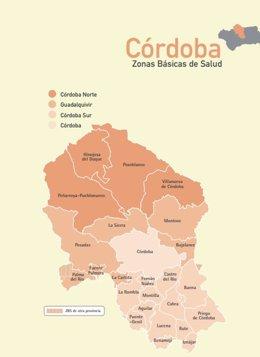 Mapa de los distritos sanitarios de la provincia de Córdoba.