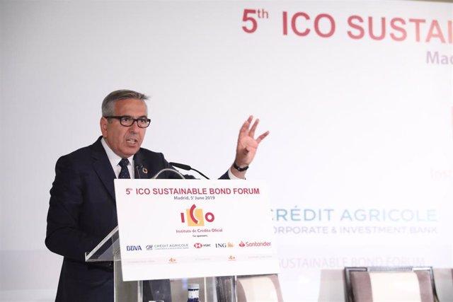 El presidente del ICO, José Carlos García de Quevedo, durante su intervención en la inauguración del 'V Foro ICO de Bonos Sostenibles'.