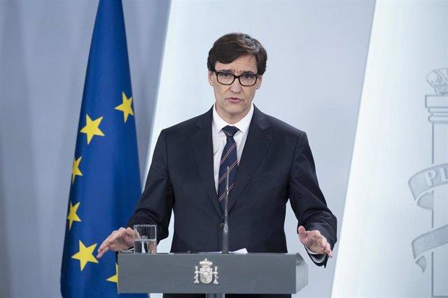 El ministro de Sanidad, Salvador Illa, comparece en rueda de prensa en La Moncloa para informar sobre la evolución de la pandemia del coronavirus en España. 6 de abril de 2020.
