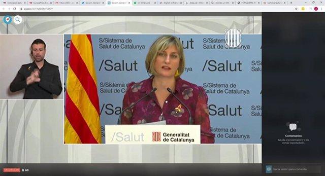 La consellera de Salud de la Generalitat, Alba Vergés, en rueda de prensa telemática sobre el coronavirus el 6 de abril de 2020