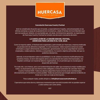 Cancelada la edición 2020 del Huercasa Country Festival que debía celebrarse del 10 al 12 de julio