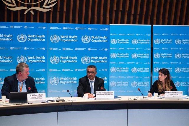 El director general de la Organización Mundial de la Salud, Tedros Adhanom Ghebreyesus, comparece en rueda de prensa para informar sobre la evolución de la pandemia de coronavirus. 18 de marzo de 2020.