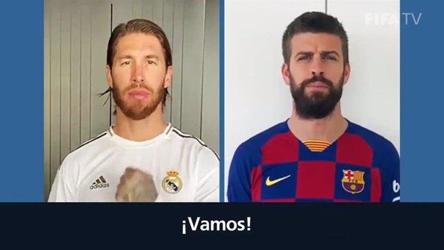 Sergio Ramos y Gerard Piqué en la campaña #BeActive de la FIFA
