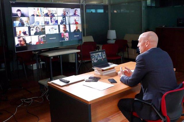El presidente de la RFEF Luis Rubiales se reúne telemáticamente con los presidentes de las federaciones territoriales
