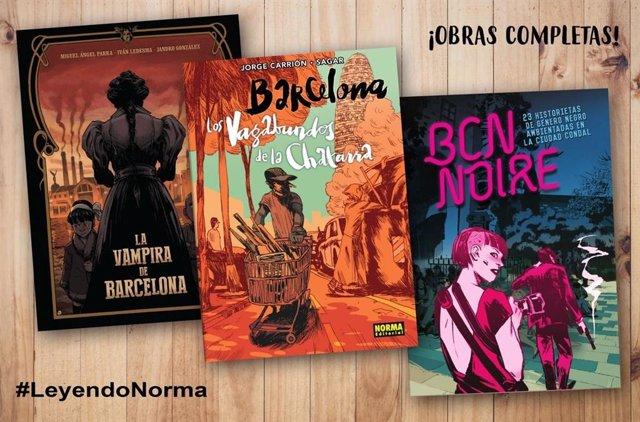 Portadas de las tres obras que Norma Editorial ofrece gratuitamente durante la cuarentena: 'La Vampira de Barcelona', 'Los Vagabundos de la Chatarra' y 'BCN Noire'