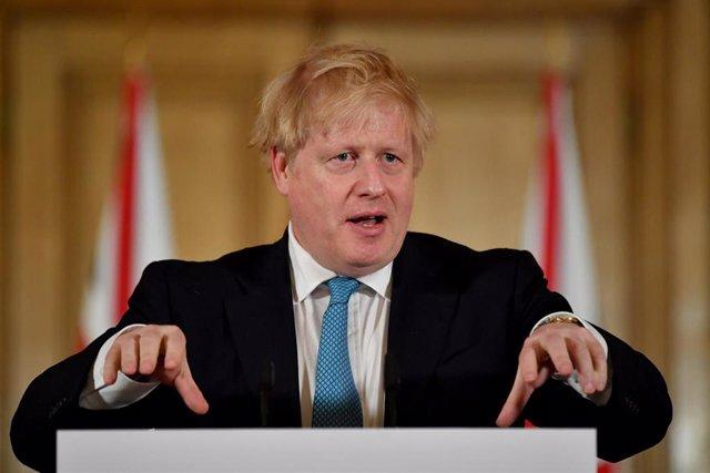 Boris Johnson durante una rueda de prensa sobre el coronavirus.