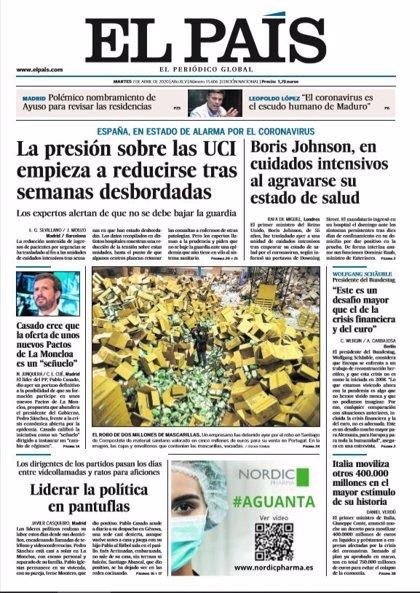 Las portadas de los periódicos del martes 7 de abril de 2020