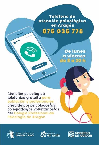 Unas 500 personas usan en Aragón el teléfono gratuito de atención psicológica 876 03 67 78