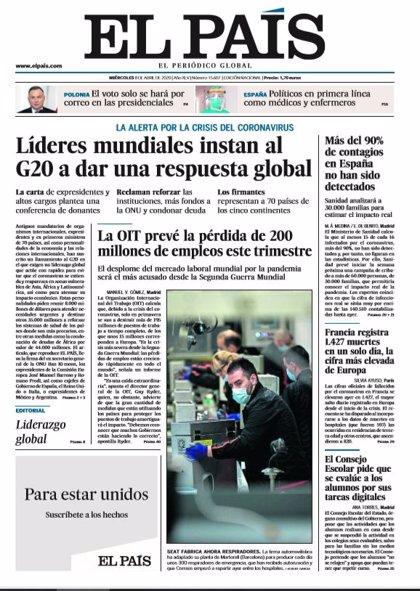 Las portadas de los periódicos del miércoles 8 de abril de 2020