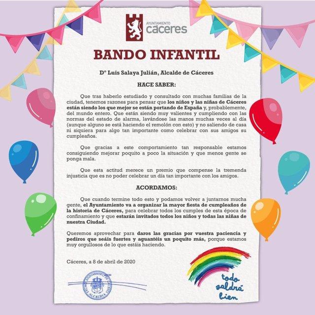 """Bando del alcalde de cáceres sobre la """"Gran fiesta de cumpleaños"""" que organizará la ciudad"""