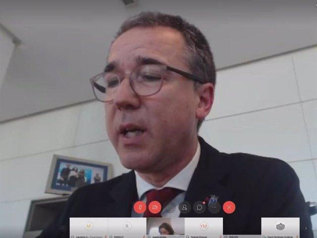El consejero de Salud, Pablo Fernández Muñiz, en comparecencia telemática para niformar sobre la gestión del coronavirus.