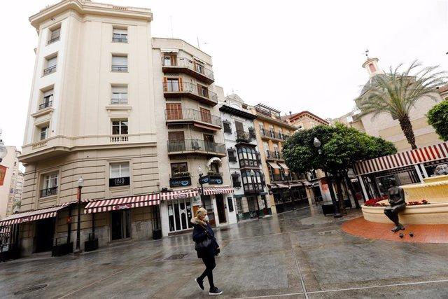 La Plaza de las Flores, vacía durante el estado de alarma, en Murcia (España) a 22 de marzo de 2020.