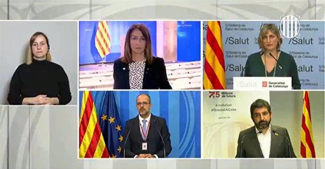 Rueda de prensa telemática de la Generalitat sobre coronavirus, con los consellers Meritxell Budó, Alba Vergés, Miquel Buch y Chakir el Homrani