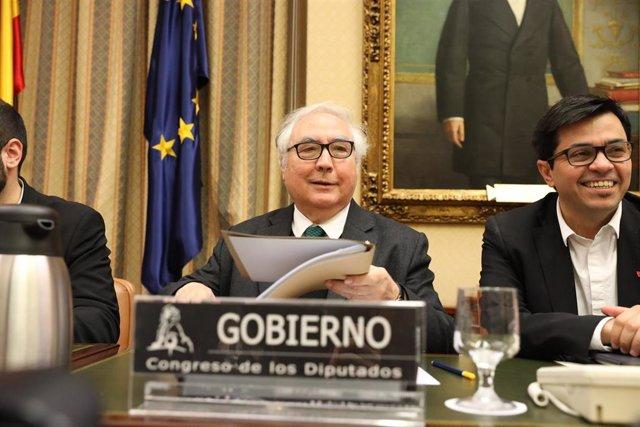 El ministro de Universidades, Manuel Castells, en febrero en su primera comparecencia en el Congreso.