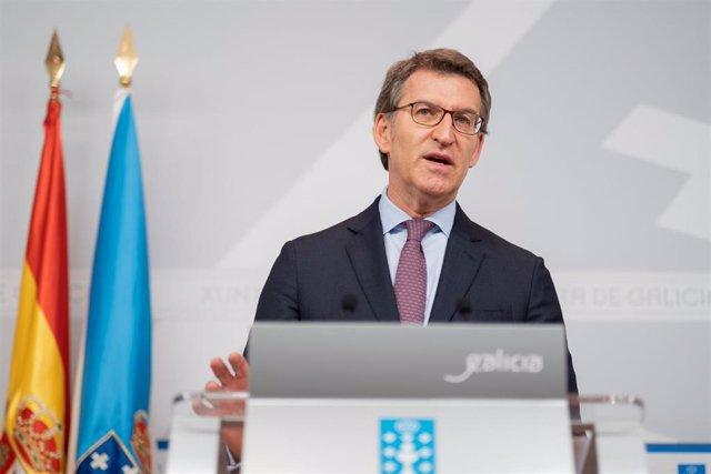 El presidente de la Xunta, Alberto Núñez Feijóo, en la rueda posterior al Consello.