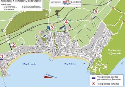 Benidorm cierra los accesos secundarios a la ciudad desde este jueves y 'sine die'