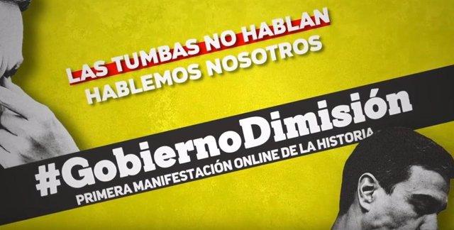 Manifestación 'online' que pide dimisión de Sánchez.