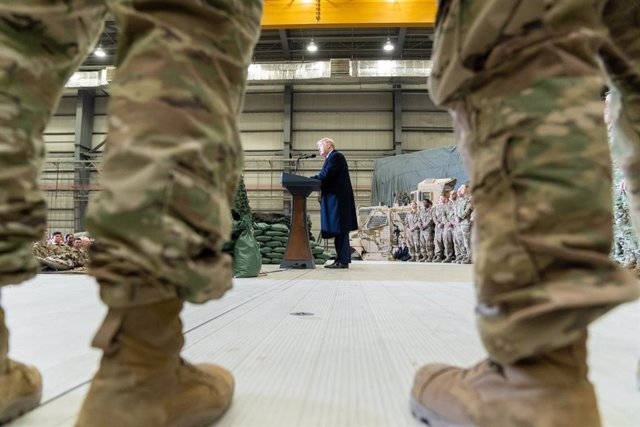 El presidente de Estados Unidos, Donald Trump, en una visita a las tropas estadounidenses en Afganistán
