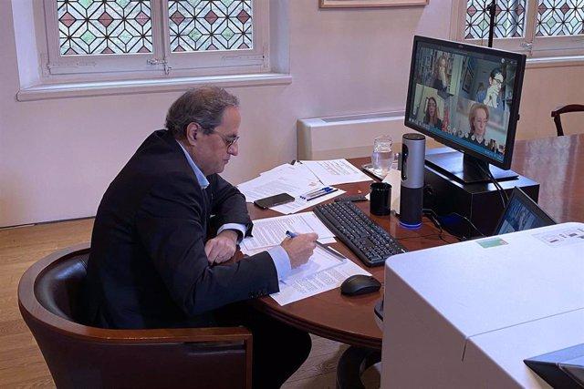 El presidente del Govern, Quim Torra, preside la reunión telemática del Consell Executiu.