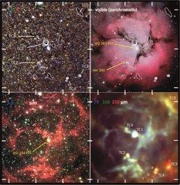 Comparación de la vista clásica de la nebulosa Trífida en el visible (arriba dcha), con las imágenes obtenidas en el infrarrojo por OMEGA 2000 (arriba izda), Herschel (abajo dcha) y Spitzer (abajo izda)