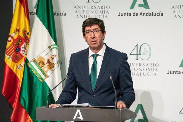 El vicepresdente de la Junta, Juan Marín, en rueda de prensa posterior a la reunión del Consejo de Gobierno.