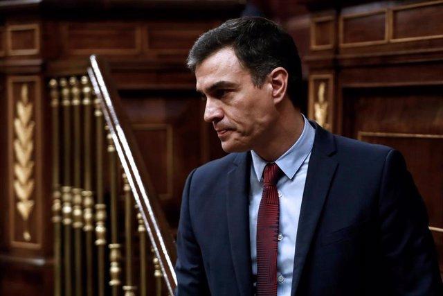 El presidente del Gobierno, Pedro Sánchez, tras su intervención en el pleno celebrado este jueves en el Congreso