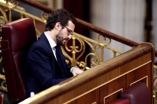 El líder del PP, Pablo Casado, al Congrés per aprovar una altra pròrroga de l'estat d'alarma. Madrid, (Espanya), 9 d'abril del 2020.