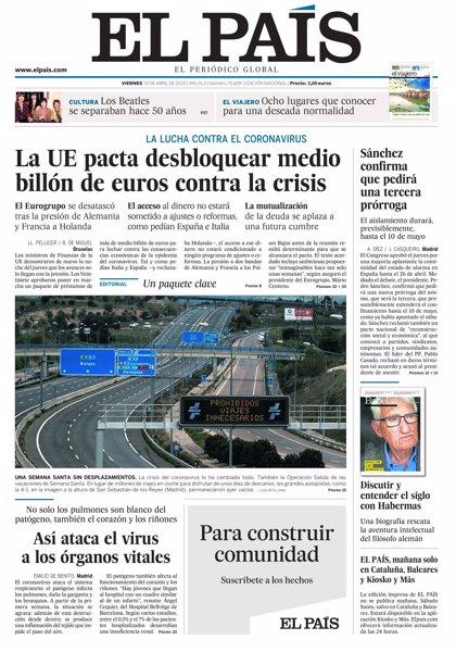 Las portadas de los periódicos del viernes 10 de abril de 2020