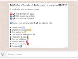 Imagen del bot de la Generalitat sobre el coronavirus.