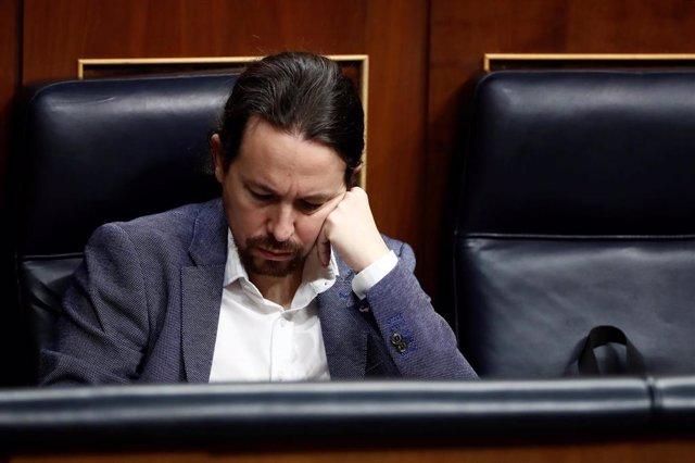 El vicepresidente segundo del Gobierno, Pablo Iglesias, durante el pleno celebrado este jueves en el Congreso para aprobar una nueva prórroga del estado de alarma.