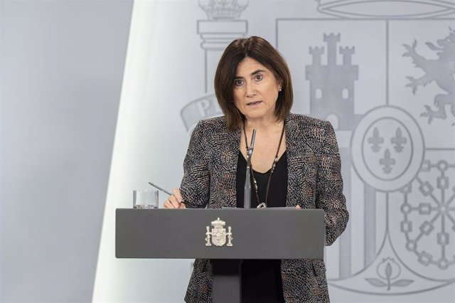 María José Sierra  tras la reunión del Comité de Gestión Técnica del Coronavirus. 4 de abril de 2020.