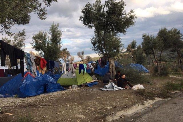Campo de refugiados en Moria, Lesbos.
